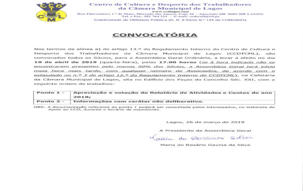 ASSEMBLEIA GERAL ORDINÁRIA DIA 10 DE ABRIL DE 2019